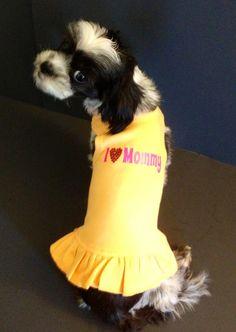 "Custom made ""I love Mommy"" dog dress by Fetch Dog Fashions www.fetchdogfashions.com #puppy #dog #dogclothing #dogapparel #dogboutique #dogcouture #petboutique #dogdress #shihtzu"