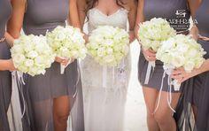 White Rose Bouquets for Bride & Bridesmaids.