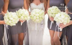 White Rose and Orchid Bouquets for Bride & Bridesmaids.