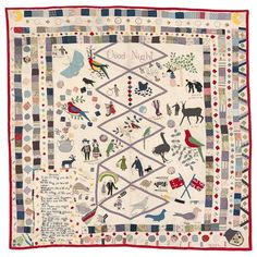 Mary Jane Hannaford born England 1840, arrived Australia Mary Jane Hannaford, born in England 1842, died 1930 Good night quilt 1921 cotton (chintz), wool, silk, beads (embroidery and applique) 199.0 x 205.0 cm