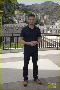 Jeremy Renner keeps it casual in a black polo while attending the 62 Taormina Film Fest on Friday afternoon (June 17) in Taormina, Italy.