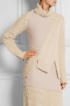 Joseph|Asymmetric contrast-knit wool turtleneck sweater|NET-A-PORTER.COM