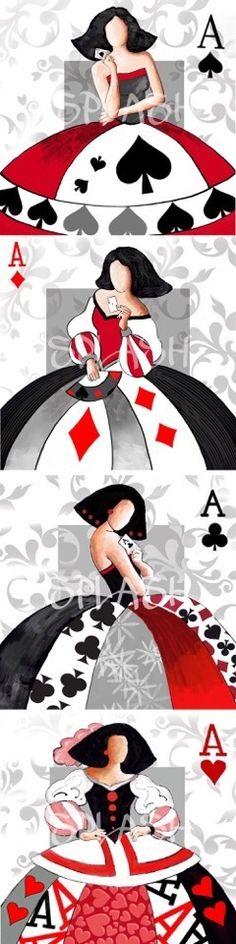 Juego de 4 cuadros Meninas modernas póker