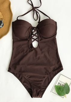 Walk along the seaside, play on the sand or surf and swim in the sea, this one piece bathing suit is ready for all your needs! Lace up at front and tie at back is super flattering~ FREE shipping. Pack it for your next beach leave!