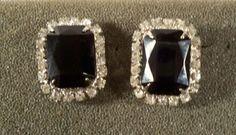 Vintage Black and Clear Rhinestone Pierced by CrowsNestJewels