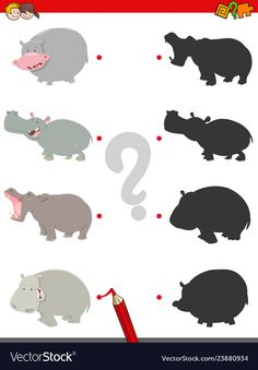 Match shadows activity with funny hippos vector image on VectorStock Homeschool Worksheets, Worksheets For Kids, Health Activities, Kids Learning Activities, Hidden Pictures Printables, Duck Crafts, Word Games For Kids, Creative Class, Summer Reading Program