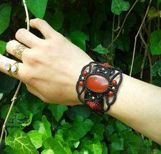 Carnelian macrame bracelet statement bracelet by LaughingBuddhaArt
