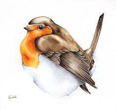 ARTFINDER: Robin (Erithacus rubecula) by Karolina Kijak - Original watercolors of Robin (Erithacus rubecula) Paper 300g,  100% cotton size 20x20cm  Follow me on facebook: https://www.facebook.com/kijakwatercolors