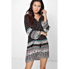 Boohoo Daiane Mix Paisley Tassel Shift Dress ($26) ❤ liked on Polyvore featuring dresses, black, special occasion dresses, rayon dress, boohoo dresses, bodycon dress and layering cami