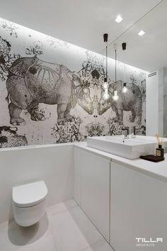 Home Interior Design — Rhino and the mirror. Serene Bathroom, Small Bathroom, Chic Bathrooms, Amazing Bathrooms, Ideas Baños, Wall Ideas, Casa Hotel, Bathroom Toilets, Washroom