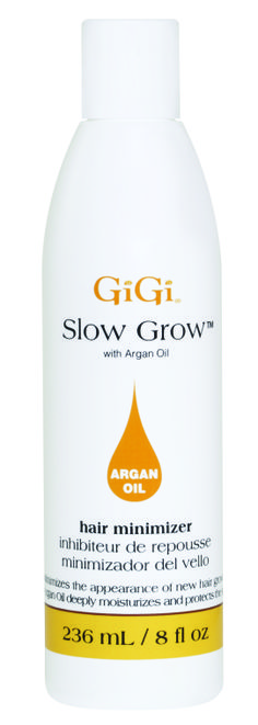 Slow Grow with Argan Oil is a fast absorbing nourishing lotion that contains Papain & natural enzymes to slow down the formation of new hair.  #gigi #gigiwax #hairremoval #gigispa #wax
