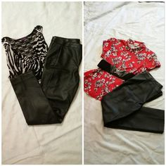 Faux leather light weight pants size 10 (small) Faux leather light weight, very soft, pants, size 10, I think they run small my opinion, see pictures with measuring tape, creative patch seams provide style and flair see 2nd picture, never worn, gift but too small. Worthington Pants
