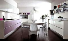 Pink and White Kitchen Cabinets Design Ideas