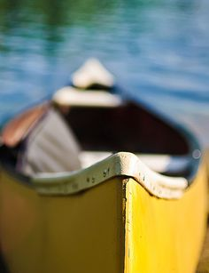 Yellow Canoe looking for a country pond.