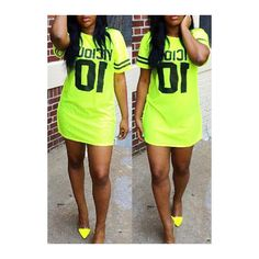 Rotita Neon Green Round Neck Letter Printed Straight Dress ($18) ❤ liked on Polyvore featuring dresses, green, sleeve dress, neon green dress, mini dress, sexy print dresses and round neck dress
