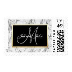 #monogram - #Personalized Marble Black Frame Monogram Wedding Postage