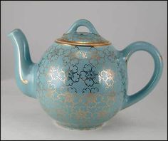 Vintage Hall China Teapot Turquoise Blue Gold 2 Cup French