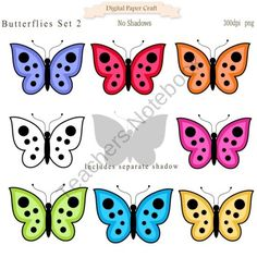 Butterfly Clipart Set 2 from Digital PaperCraft on TeachersNotebook.com (9 pages)  - Butterfly Clipart with separate shadow for Fun Design