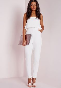 Missguided - Double Layer Bandeau Jumpsuit White
