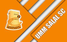 Download wallpapers Umm Salal SC, 4k, orange abstraction, logo, material design, Qatar football club, Qatar Stars League, Umm Salal, Qatar, Q-League, Premier League