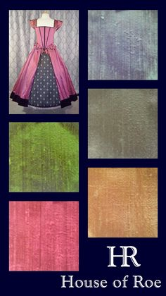 Pastel silk colors for Renaissance dresses from the Classic Renaissance Collection at House of Roe | Frosted Blue, Baltic Gray, Spanish Gold, Brentwood Green, Hollywood Pink