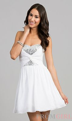 Short Strapless Sequin Embellished Dress at PromGirl.com @Lindsey Marie what do you think?!