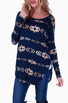 Navy Blue Tribal Printed Long Sleeve Maternity Top