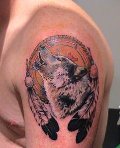 Image titled 'wolf and dreamcatcher tattoo by Mirek vel Stotker' posted by Mirek Vel Stotker to gallery page 'Mirek vel Stotker animals' on Geometric Wolf Tattoo, Tribal Wolf Tattoo, Wolf Tattoo Sleeve, Tattoo Wolf, Male Tattoo, Weird Tattoos, New Tattoos, Body Art Tattoos, Tattoos For Guys