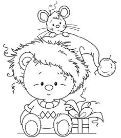 Wee stamp freebie, mouse in the hat Christmas Coloring Pages, Coloring Book Pages, Coloring Sheets, Whimsy Stamps, Digi Stamps, Illustration Noel, Christmas Drawing, Christmas Embroidery, Christmas Colors