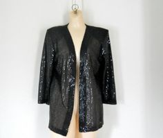 Vintage Christmas gift idea for her 1980s sequin blazer #holiday #glam