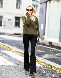 Knit sweater + black flared pants
