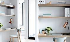 Crisp Street Apartment - Mim Design Love these sleek timber study nooks with shelving Mim Design, Deco Design, Design Desk, Home Interior, Interior And Exterior, Interior Design, Stylish Interior, Tiny Living, Living Spaces