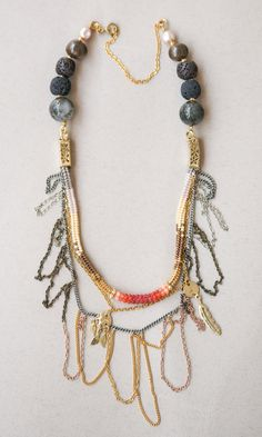 Multi layered gypsy necklace chain beaded necklace by Kvalwasser