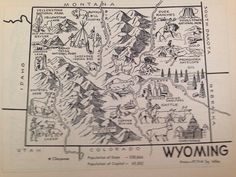 Wyoming Map Print / Vintage Map of Wyoming Decor / by HildaLea