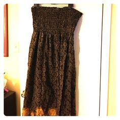 ⚡️✨FLASH SALE⚡️✨Plus size strapless dress Brown bohemian Floral patterned strapless dress. Dresses Maxi