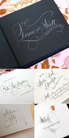 Rag & Bone Bindery's beautiful albums and optional custom calligraphy by Maria Thomas (gorgeous work!).