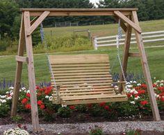 4'-6' Highback Plain Pinewood Swing | Amish Furniture Factory