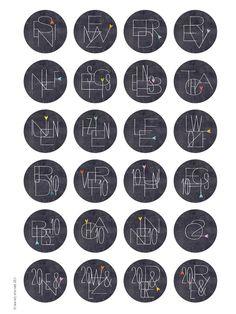 Adventskalenderzahlen - Adventskalenderzahlen ZIFFERN-KNIFFL 40 mm w/s - ein Designerstück von lina-art bei DaWanda