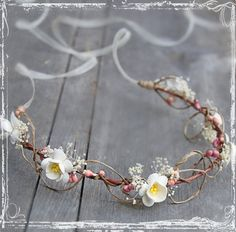 Cherry Blossom Head Wreath - Wedding Halo - Flower Crown Accessories - Weddings, Festival, Faire - Flower Girl, Bridal - Harajuku. $36.00, via Etsy.