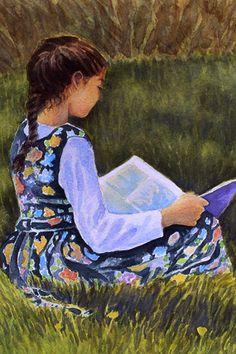 Reading by John Palacios living near Portland (Oregon), USA People Reading, Girl Reading Book, Reading Art, Book People, Woman Reading, Kids Reading, Reading Books, I Love Books, My Books