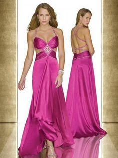2012 Style A-line Spaghetti Straps  Sashes / Ribbons  Sleeveless Floor-length Elastic Woven Satin Fuchsia Prom Dress / Evening Dress (SZ0253917 )