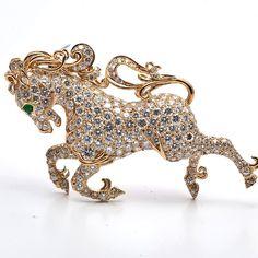 Estate 20.15cts French Laykin Diamond 18K Gold Horse Brooch Pin -