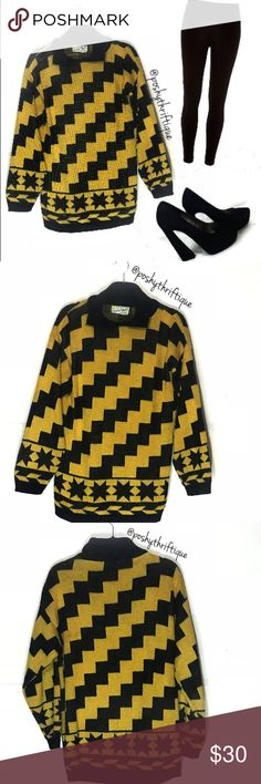 Vintage Diane Von Furstenberg Womens Sweater ALWAYS Open To Offers   SIZE: large  STYLE: lounge / casual / sportswear  BRAND: Diane Von Furstenberg  MATERIAL: 100% Acrylic  COLOR: YELLOW & Black  MEASUREMENTS:  Length :Approx 30 in Underarm To Underarm : Approx 20 in  Bust : Approx  40 Sleeve : Approx 25 in  CONDITION : Great Pre Loved Condition  COUNTRY OF MANUFACTURER : USA SMOKE FREE & PET FREE ENVIRONMENT Diane Von Furstenberg Sweaters Crew & Scoop Necks