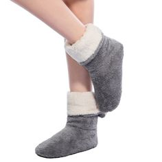 Perfect for lounging around the house, these plush bootie style slippers keep you warm and fashionable Fashion Element: Turned-over Edge, with button Upper: Polyester Fit: Fits true to size, take your normal size Heel Boots For Women, Buy Socks, Women's Socks, Soft Slippers, Foot Warmers, Winter Shoes, Warm And Cozy, Pretty Woman, Cartoons