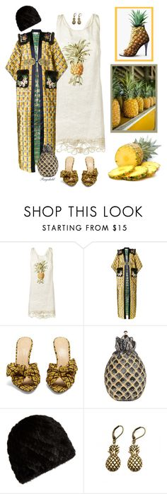 """""""Pineapple"""" by ragnh-mjos ❤ liked on Polyvore featuring Martha Medeiros, Gucci, Charlotte Olympia, Judith Leiber, Surell and Zara Taylor"""