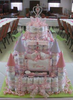 diaper castle cakes cake baby shower princess gifts nappy diapers gift disney mother decorations ever instructions own themed showers babyshower Baby Cakes, Baby Shower Cakes, Baby Shower Diapers, Baby Shower Fun, Girl Shower, Baby Shower Parties, Baby Shower Themes, Baby Shower Gifts, Baby Gifts