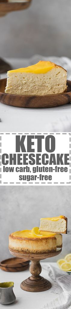 Keto Cheesecake Recipe, Low Carb, Sugar-Free, Gluten-Free - very easy to make, smooth, creamy and delicious. Perfect for an every day dessert, but also great for party and celebration. You have the option to make this cheesecake plain or lemon flavored. #ketorecipes #ketocheesecake #lowcarb #lowcarbrecipes #lowcardcheesecake via @cookinglsl