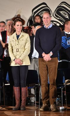 The Duke and Duchess of Cambridge are greeted with a traditional welcoming ceremony by the Heiltsuk First Nations community in Bella Bella