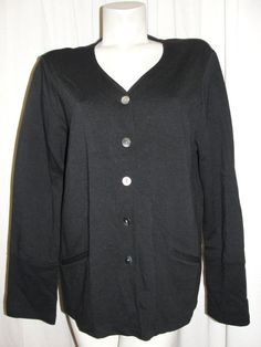 J Jill Black Stretch Rayon Nylon V-neck LS Button Down Oversized Jacket Sz L/XL #JJill #BasicJacket