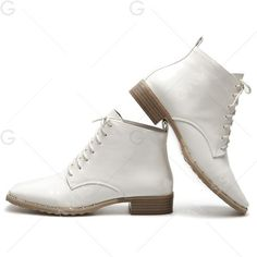 White 38 Lace Up Square Toe Patent Leather Ankle Boots ($16) ❤ liked on Polyvore featuring shoes, boots, ankle booties, ankle boots, square toe boots, lace up ankle bootie, white booties and lace-up bootie